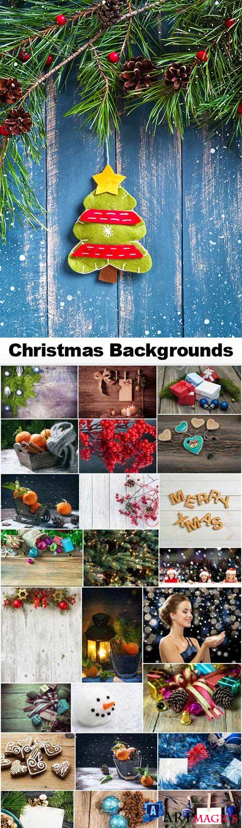 Merry Christmas Backgrounds 25xJPG