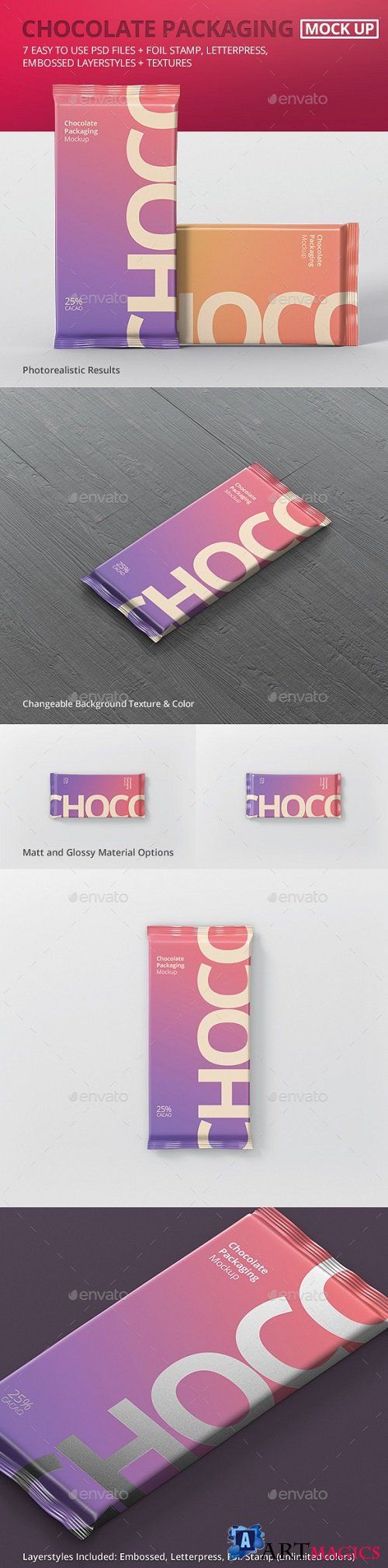 Foil Chocolate Packaging Mockup - 21120292