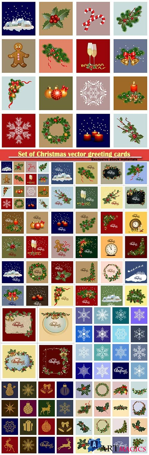Set of Christmas vector greeting cards, holiday backgrounds, cards with frames, ornaments and decorations