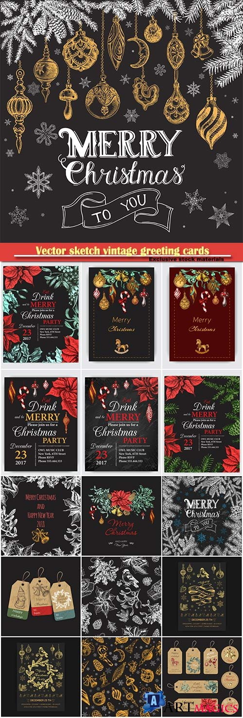 Vector illustration sketch vintage greeting cards and holiday design
