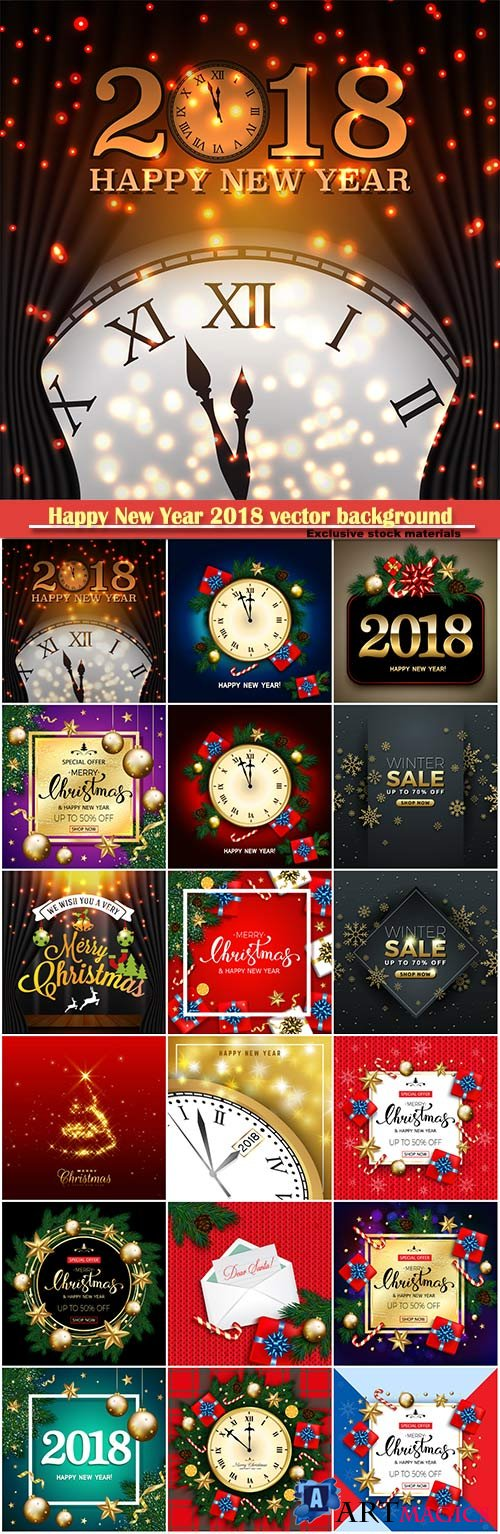 Happy New Year 2018 vector background with clock and snowflake