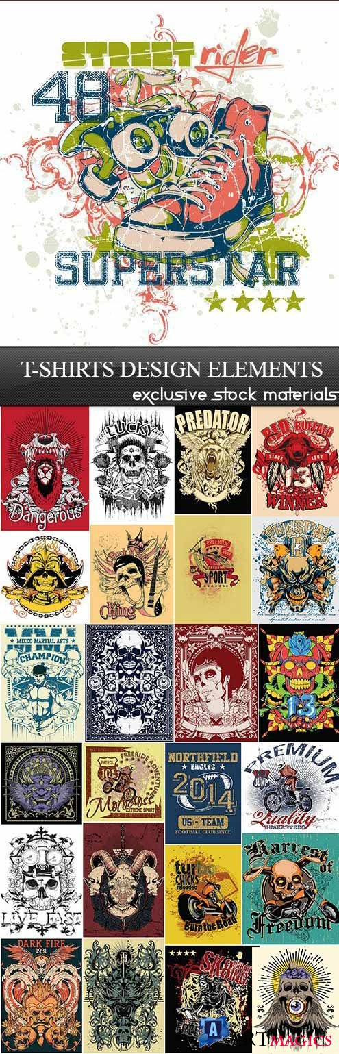 T-Shirts Design Elements 25xEPS