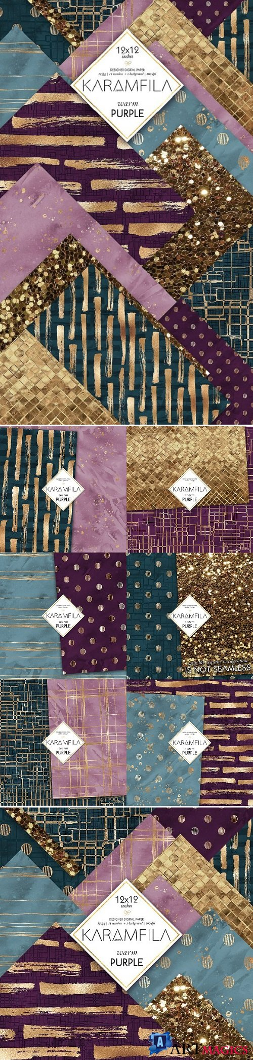 Abstract Violet Gold Patterns - 2140243
