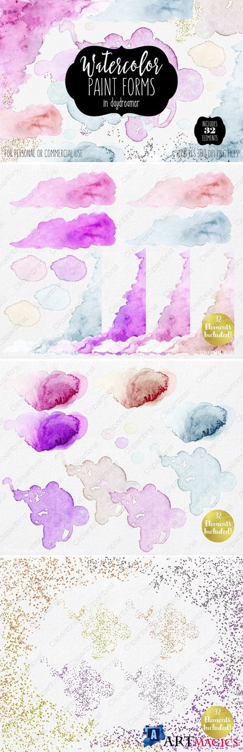 Watercolor Paint Forms Blobs & Edges 2087038