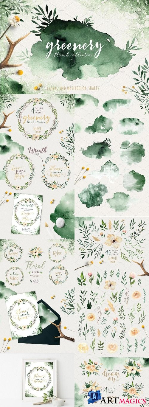 Greenery Watercolor Collection 2115016