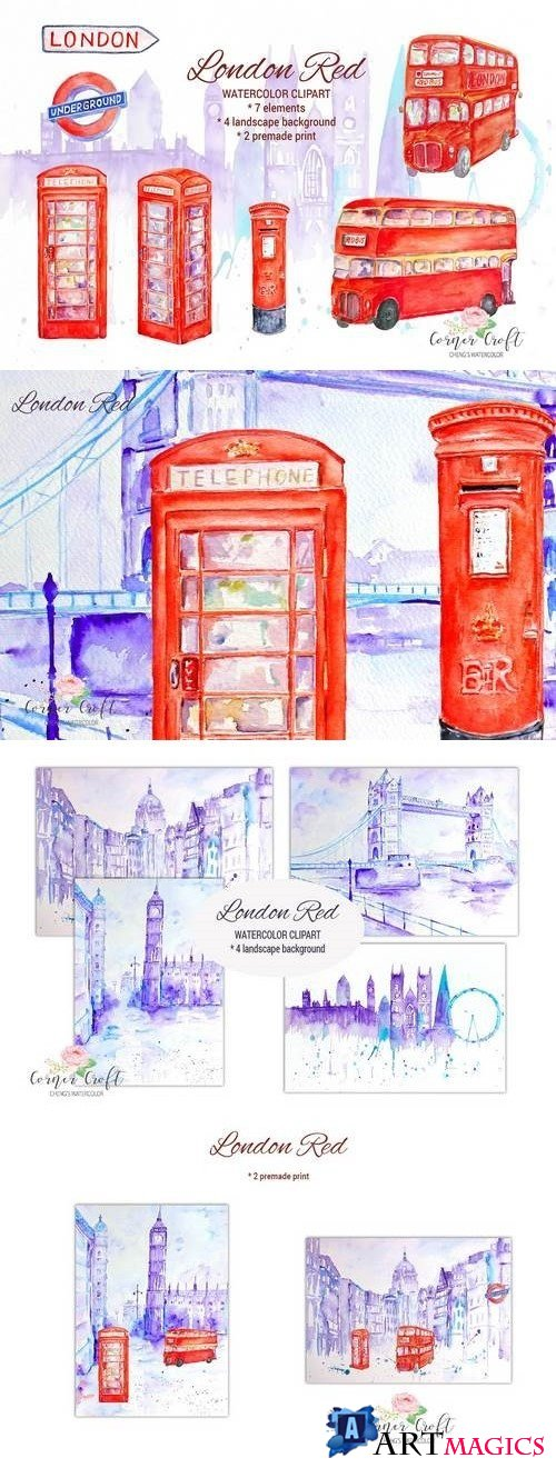 Watercolor London Red - 167345
