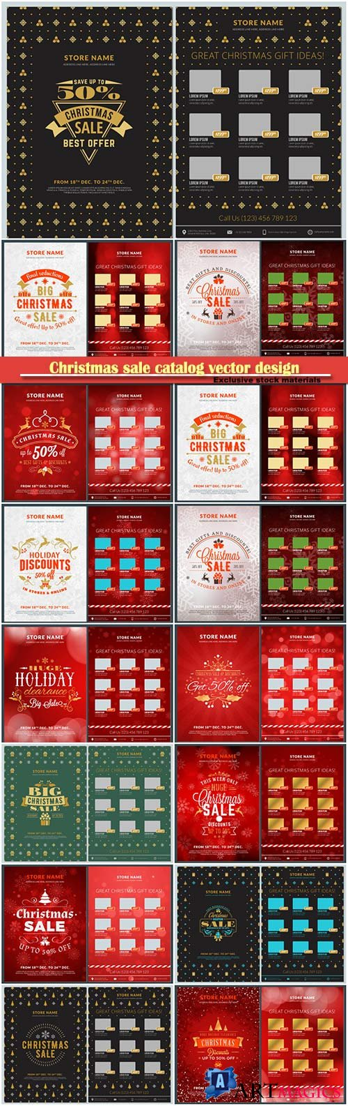 Christmas sale catalog vector design, business flyer template
