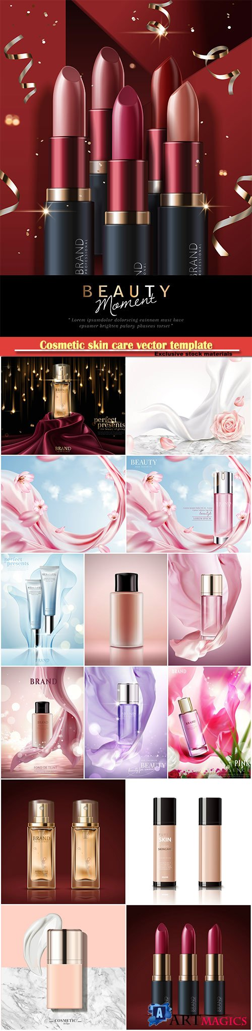 Cosmetic skin care vector template, refreshing skin care tube ads