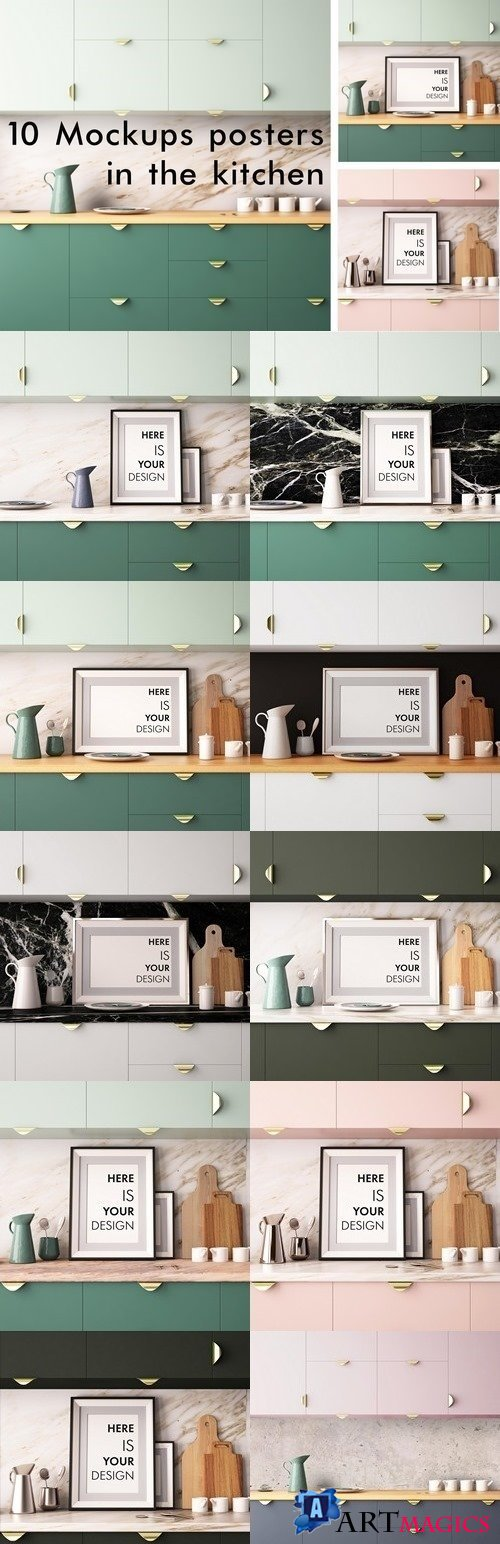 10 Mockups posters in the kitchen 1477410