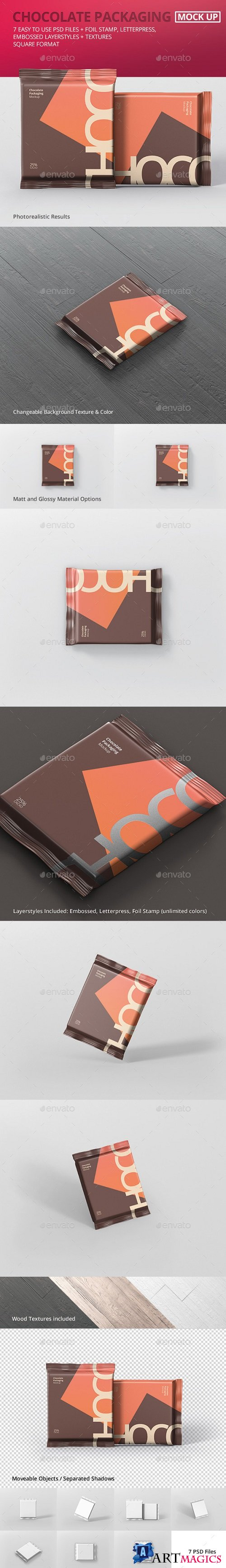 Foil Chocolate Packaging Mockup - Square Size - 21180593