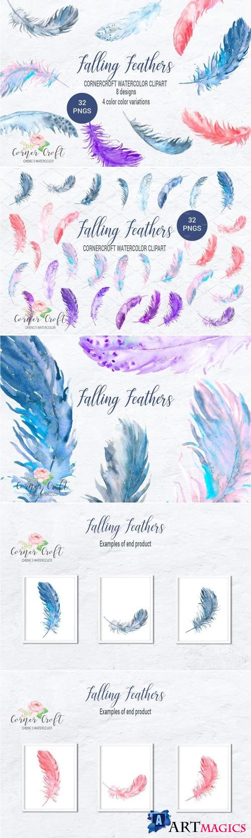 Watercolor Clipart Falling Feathers - 2178814
