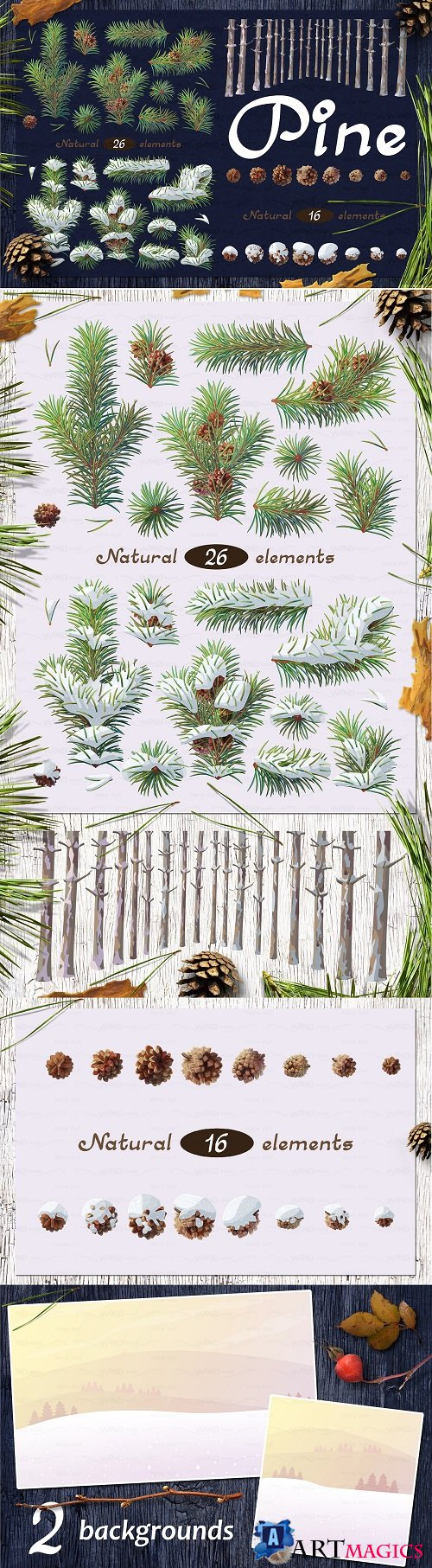 Vector SET Pine Tree 2131528