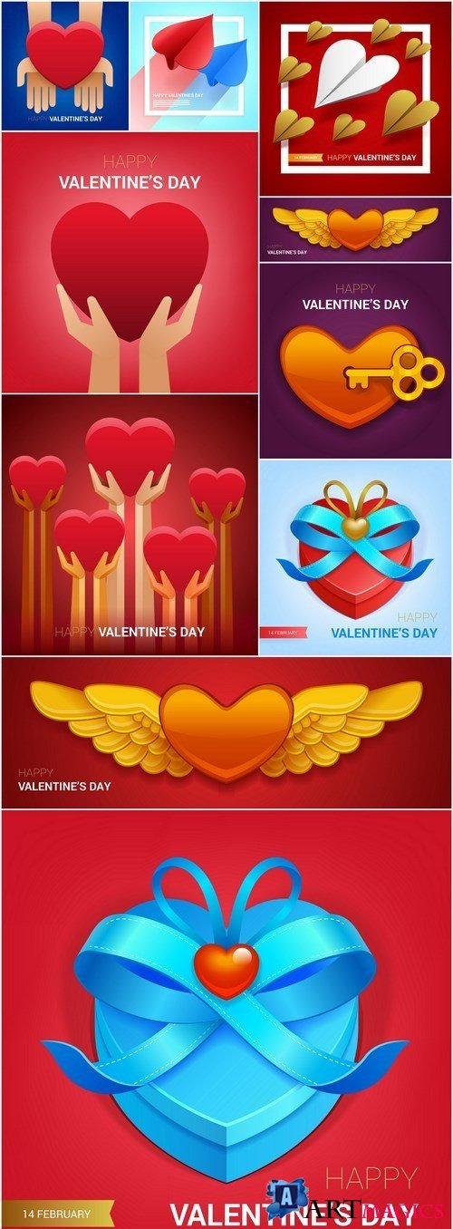 Creative Happy Valentine Day Elements - 10 Vector