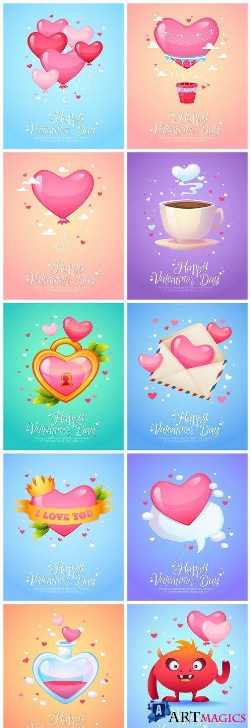 Cute Valentine Postcard - 10 Vector