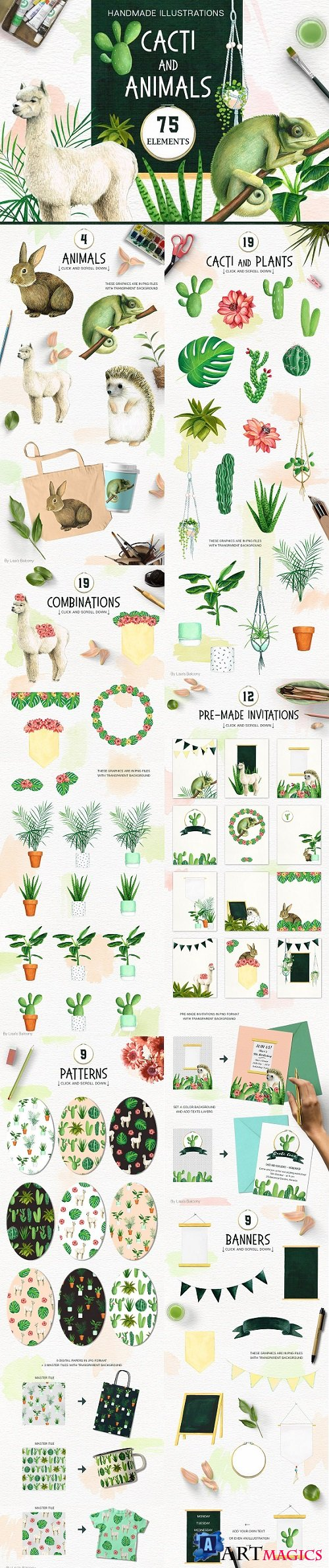 Cacti and Animals - Design Kit 1857539