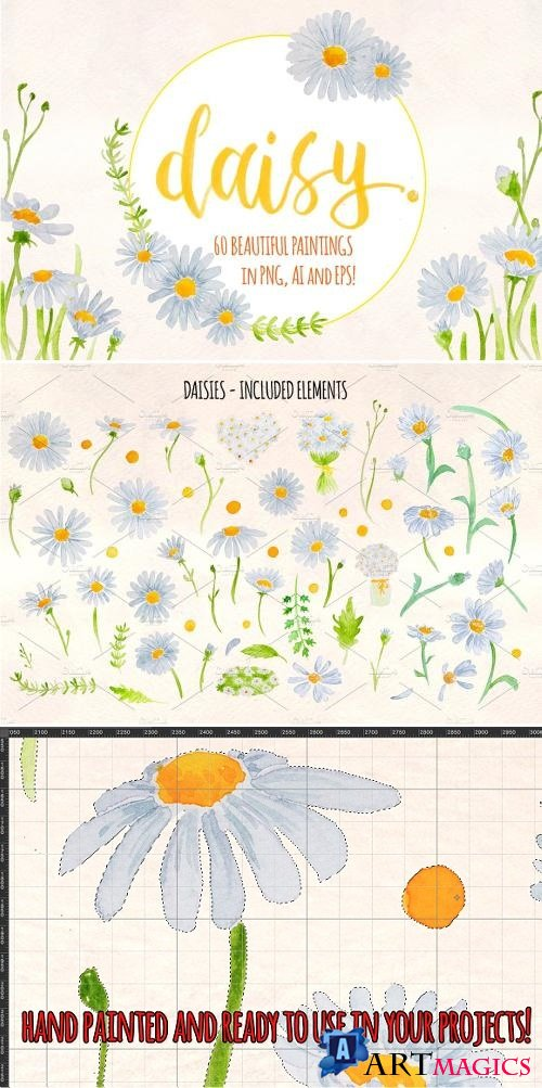 Spring Daisies 60 Watercolor Element 1897921