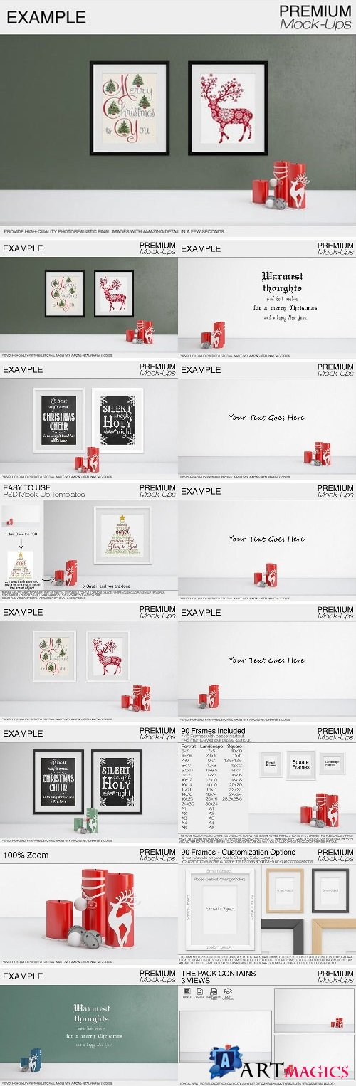 Christmas Wall and Frames Mockup Set 2057790