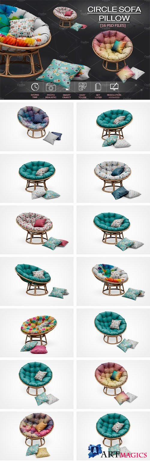 Circle Sofa Pillow Mock Up 2108285