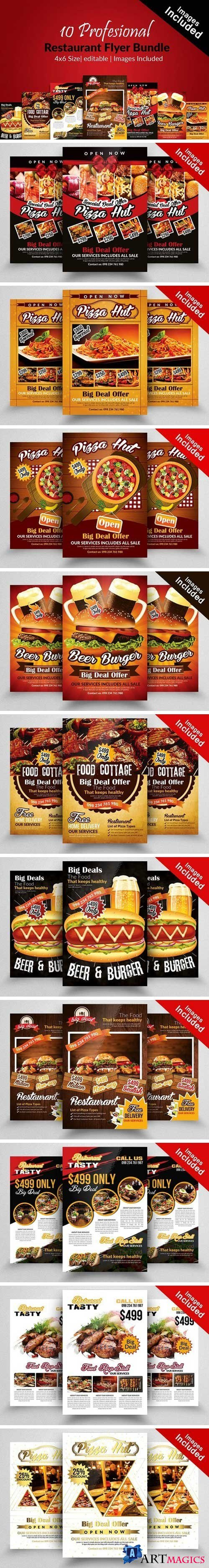 10 Restaurant Flyer Templates Bundle - 2104260