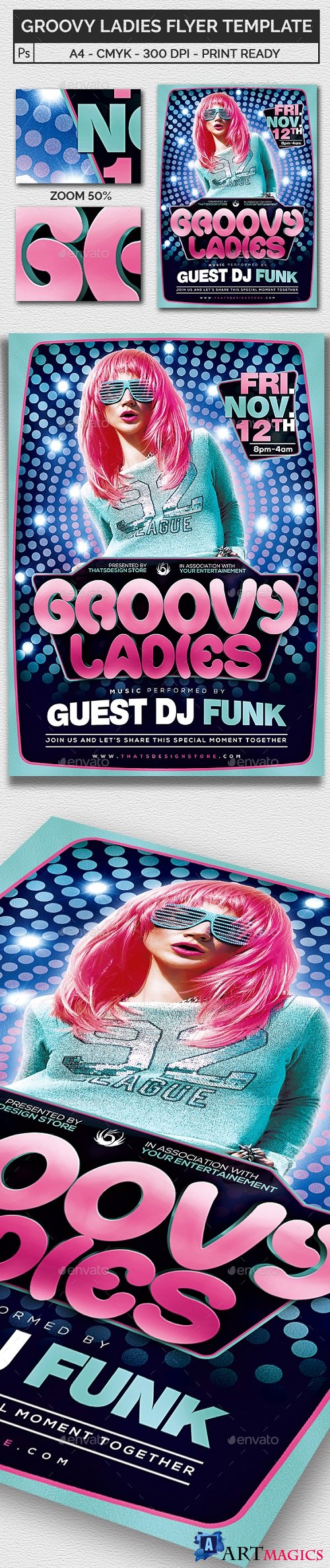 Groovy Ladies Flyer Template 18602793 - 994767