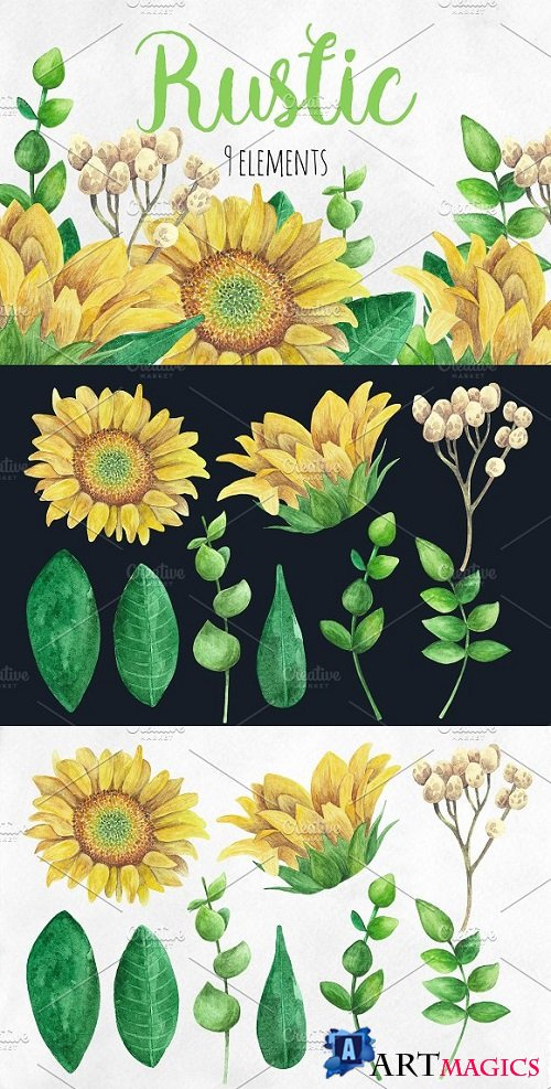 Watercolor rustic flowers clip art - 2174732