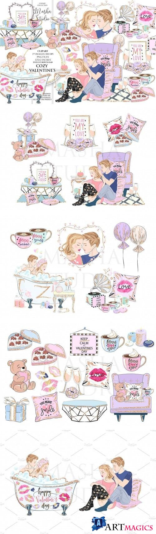 COZY VALENTINE'S DAY clipart - 2175142