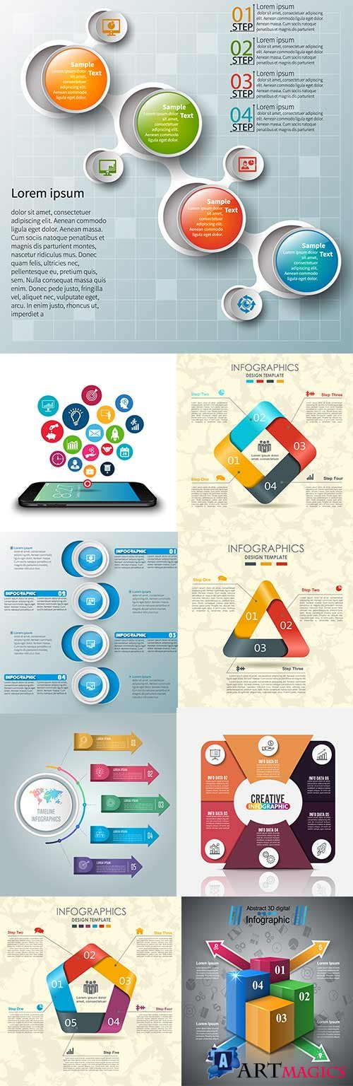 Modern business infographics elements collection 299