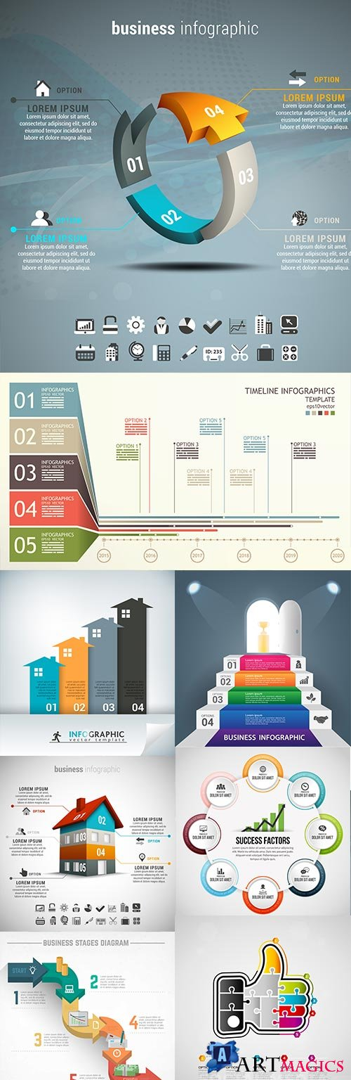 Modern business infographics elements collection 300