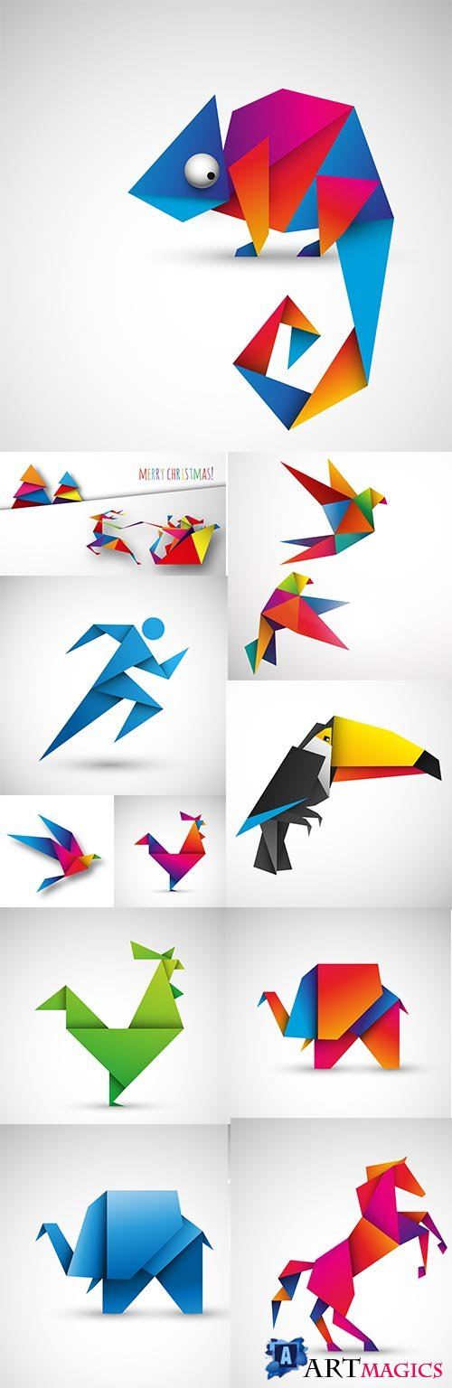 Origami from color paper bird and animals design