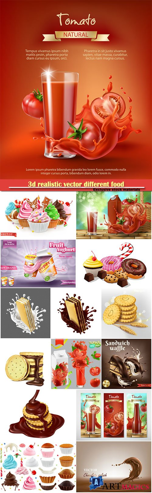3d realistic vector different food, sweet dessert, cake, cupcake, chocolate, juice
