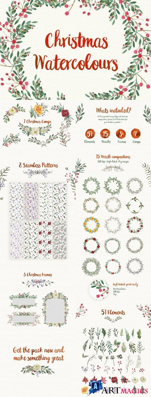 Christmas Watercolour Designs - 2131622