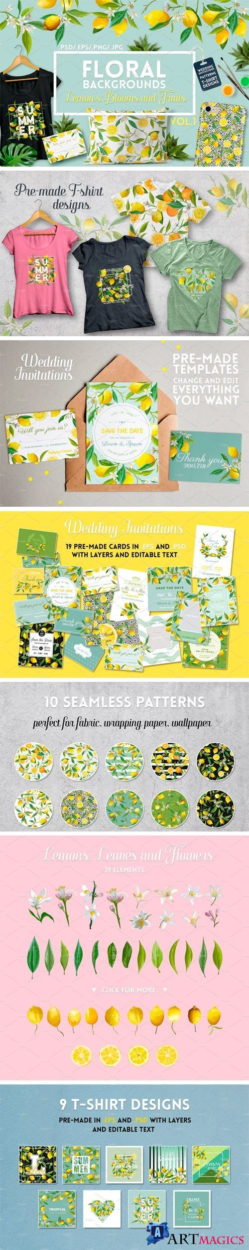 Watercolor Floral Design Set Lemons - 2079943