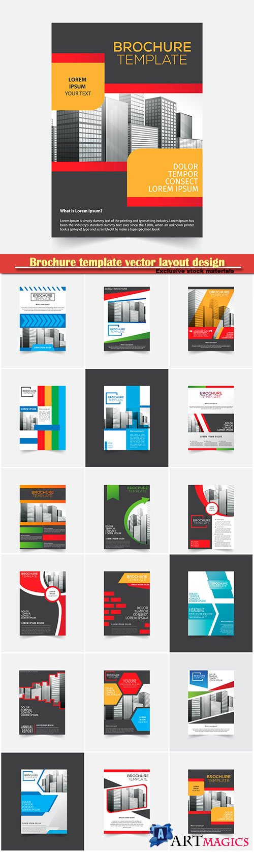 Brochure template vector layout design, corporate business annual report, magazine, flyer mockup # 107
