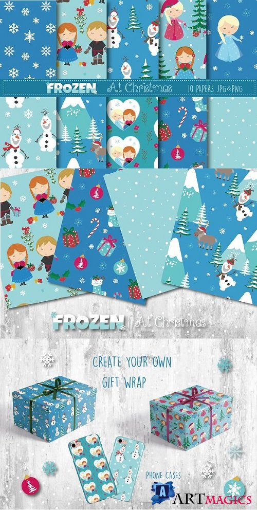 Frozen at christmas paper 2123250