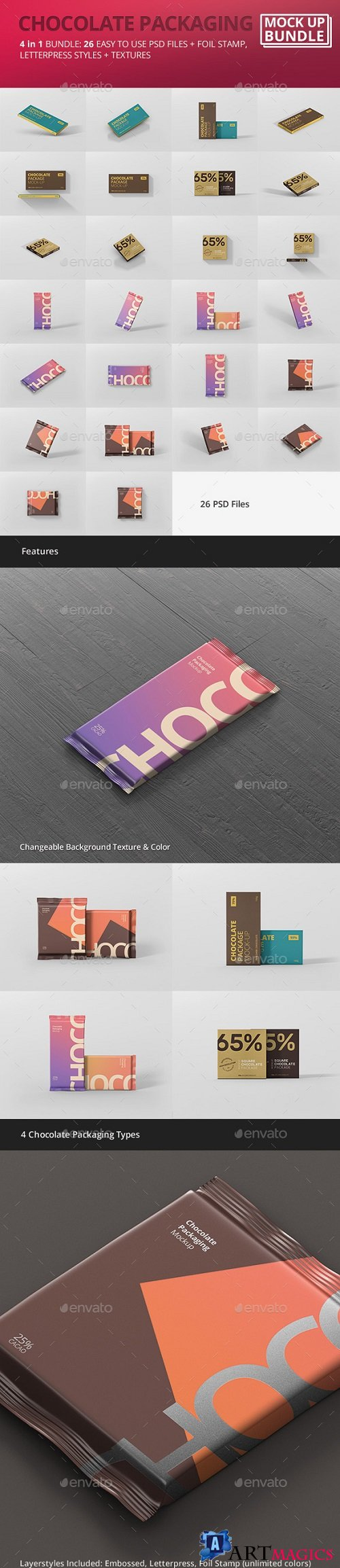Chocolate Packaging Mockup Bundle 21226686
