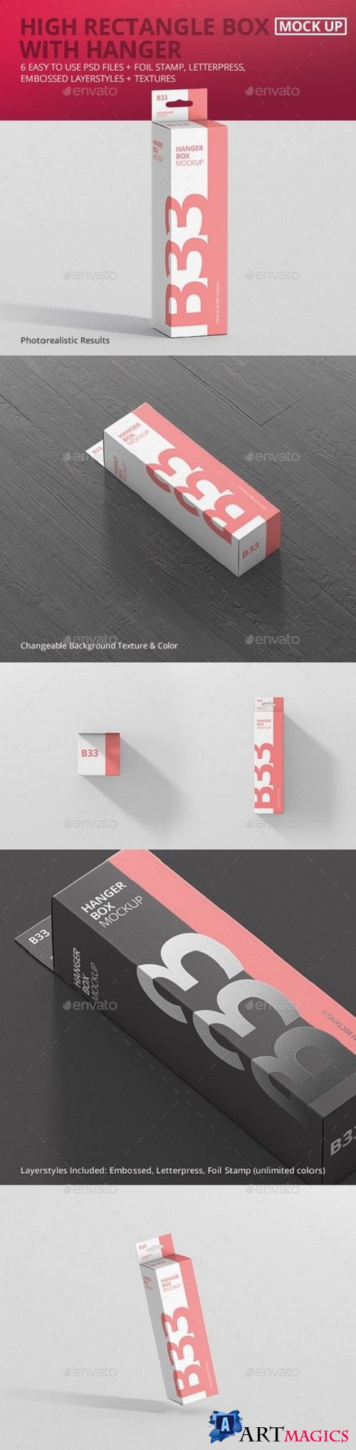Box Mockup - High Slim Rectangle Size with Hanger 21268347