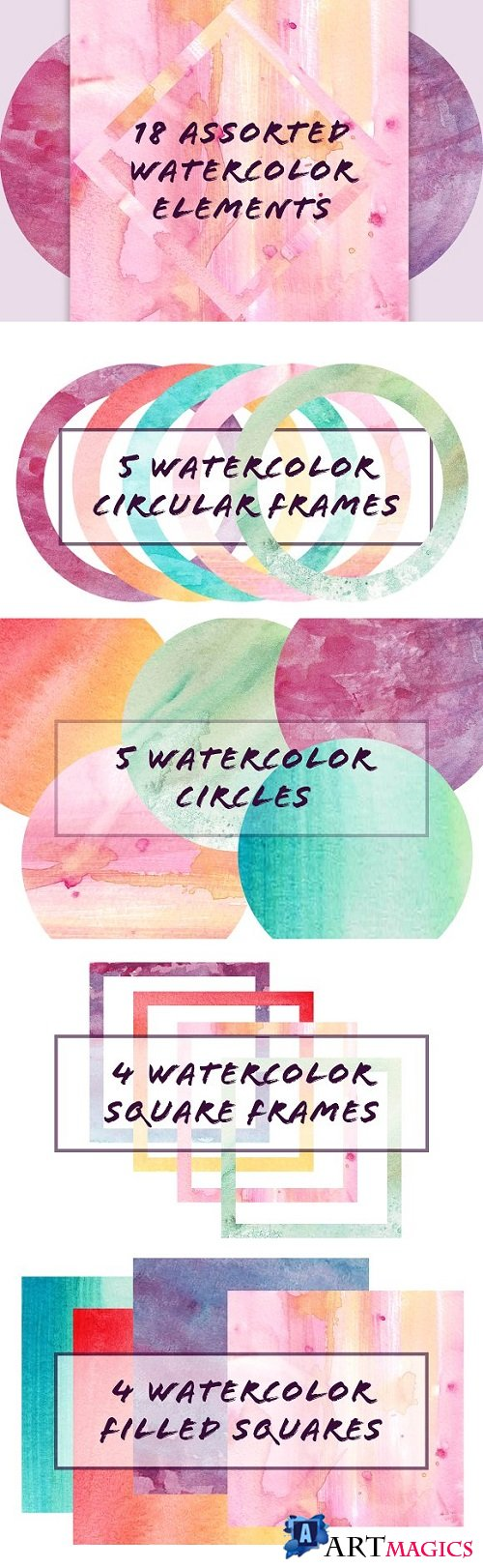 18 Assorted Water Color Elements 2176978