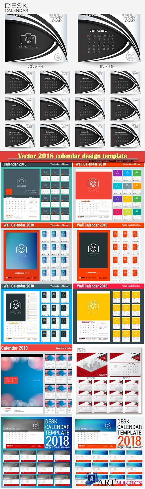 Vector 2018 calendar design template, place for photo