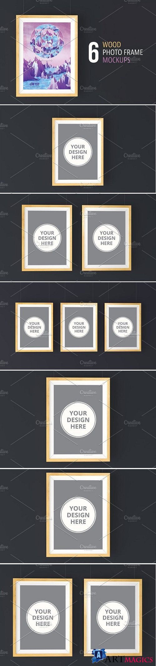 6 Wood Photo Frame Mockups 2219718