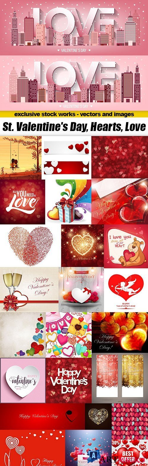 St. Valentine's Day, Hearts, Love 25xEPS