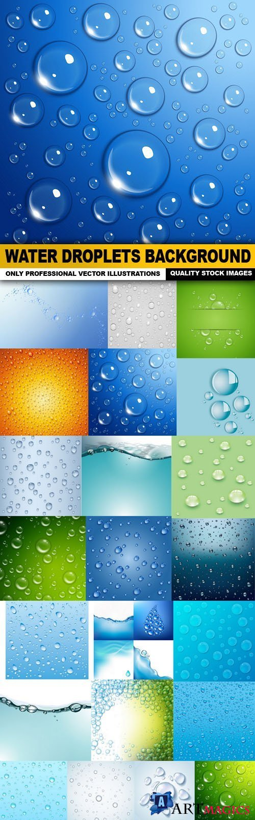 Water Droplets Background - 25 Vector