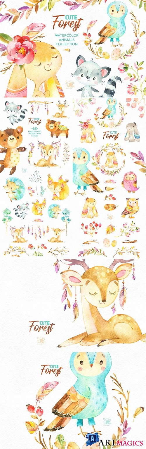 Cute Forest. Collection of Animals - 2221456