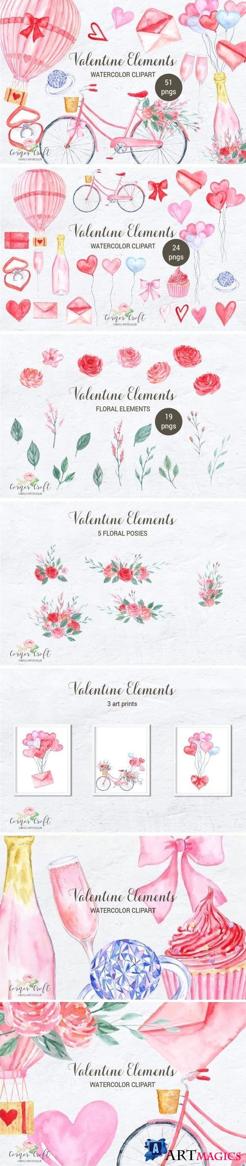 Watercolor Valentine Elements - 2245127