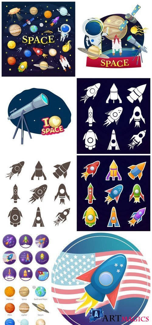 Icons of the planet of the solar system, vector illustration 9X EPS