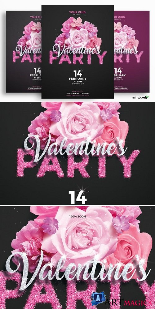 Valentine's Day Party Flyer Template 2207189