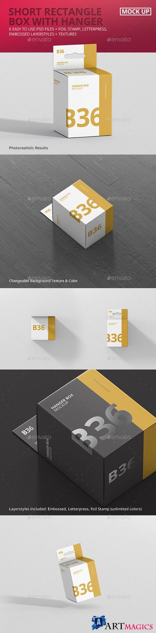 Box Mockup - Short Rectangle Size with Hanger - 21308405
