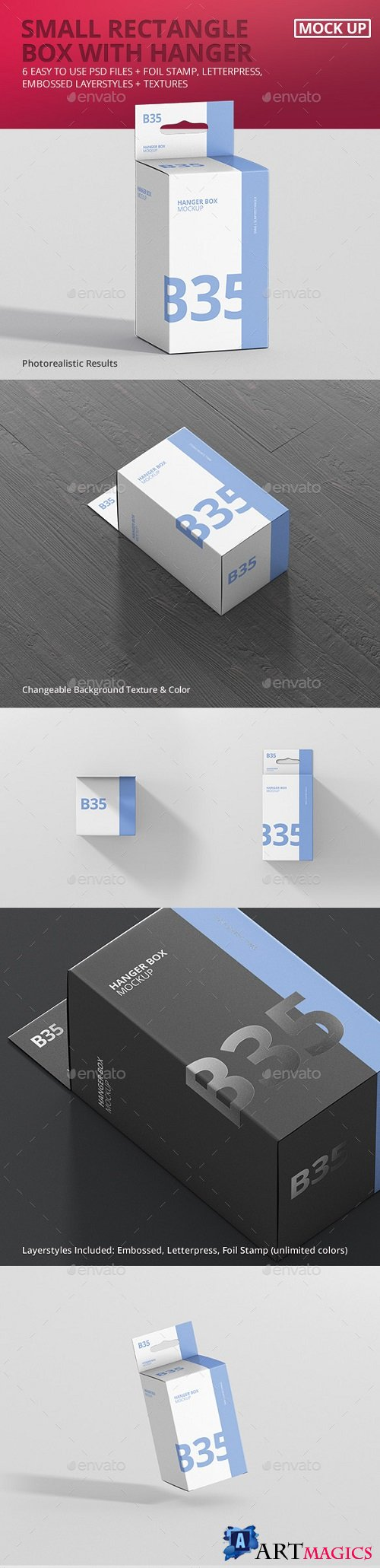 Box Mockup - Small Rectangle Size with Hanger - 21298423