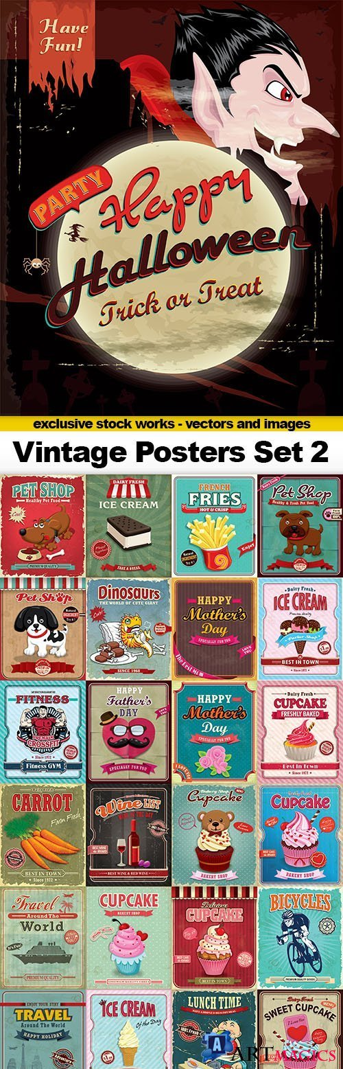 Vintage Posters Vector Set #2, 25xEPS