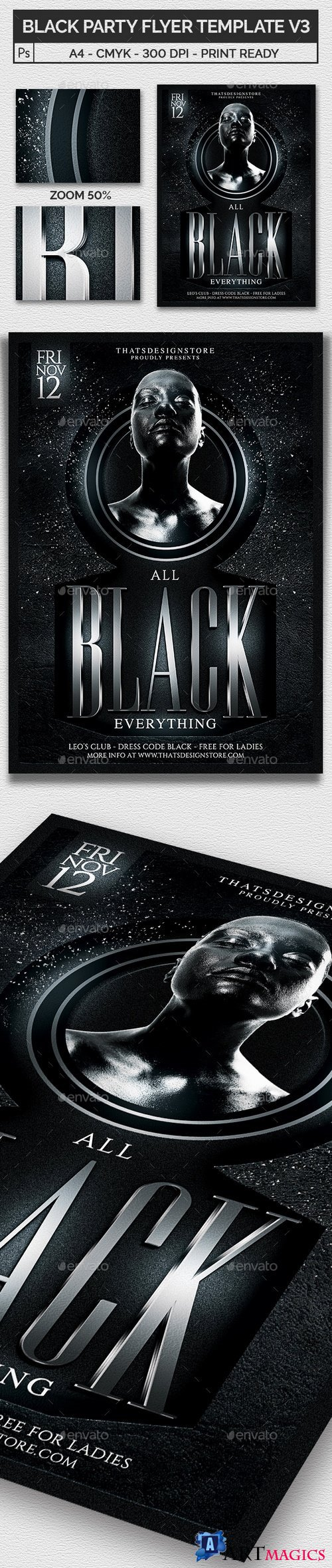 Black Party Flyer Template V3 19951559