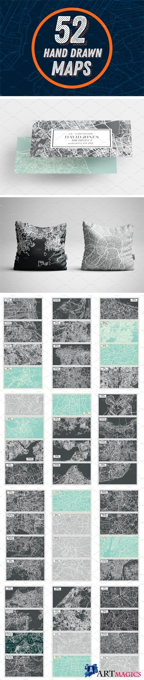 52 Hand Drawn Maps Set - 2162044